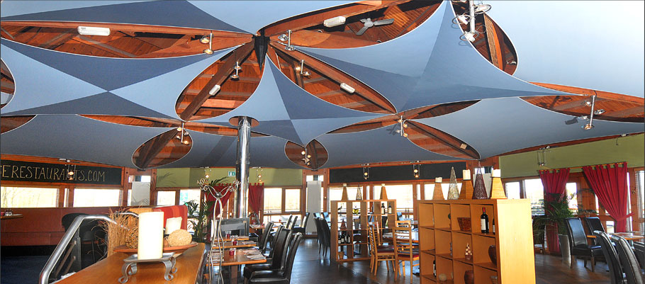 Commercial acoustic shade sails